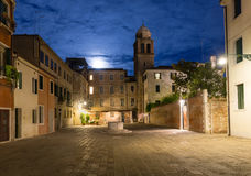 Night view of old square in Santa Croce in Venice Stock Images
