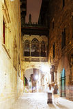 Night view of Old street at Barrio Gotico Royalty Free Stock Photography