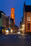 Night view on old street of Bruges Royalty Free Stock Images