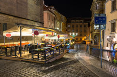 Night view of old street in Mala Strana (Little Quarter) in Prague Royalty Free Stock Photos