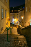 Night view of old street in Mala Strana (Little Quarter) in Prague Stock Photography