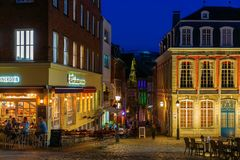 Night view in the old town of Aachen, Germany, at night stock photos