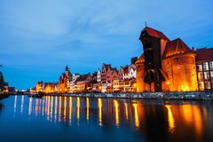 A night view of the old town of Gdansk, Poland royalty free stock photo