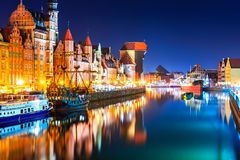 Night view of the Old Town of Gdansk, Poland stock photo