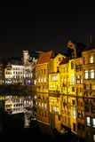 Night view of old town in Gent Belgium royalty free stock photography