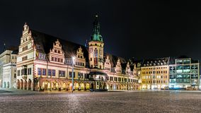 Night view of The Old Town Hall. And the Market Place. The Old Town Hall was built in 1556, houses a museum of the city`s history, also used for cultural events Royalty Free Stock Photography