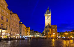 Night view of old Town Square and Astronomical Clock Orloj in Prague. Czech Republic Royalty Free Stock Photo