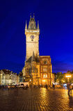 Night view of old Town Square and Astronomical Clock Orloj in Prague. Czech Republic Stock Photos