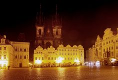 Night view of Old Town Square - Prague Royalty Free Stock Photos
