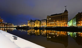 Night view of the Old Town in winter Helsinki, Finland. Beautiful European city Helsinki Royalty Free Stock Photography