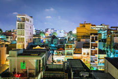 Night view of one of the oldest neighborhoods in Ho Chi Minh Cit Royalty Free Stock Image