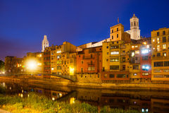 Night view of  Onyar and picturesque houses in Girona Stock Images