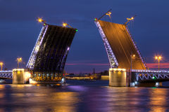 Night view on open Palace Bridge and Neva River Stock Photography