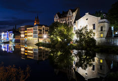 Night view on the Opole city, and Odra river Royalty Free Stock Photo