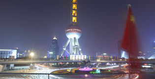 Night view of oriental pearl tower in holiday Royalty Free Stock Images