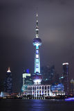 A Night View of the Oriental Pearl TV Tower in Shanghai, China Stock Photography