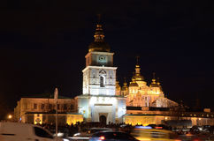 Night view of the Orthodox cathedral in the Ukrainian capital Kyiv Stock Photos