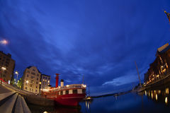 The Night view of the Orthodox Uspenski cathedral and the Harbour Royalty Free Stock Photography