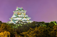 Night view of Osaka Castle in Japan Stock Photography