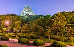 Night view of Osaka Castle in Japan Royalty Free Stock Photo