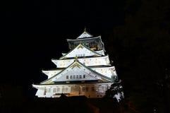 Night view of Osaka-Jo the Castle of Osaka stock photography