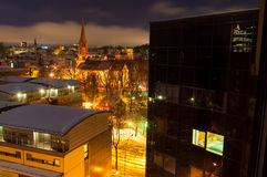 Night view of Oslo in winter, St. James Church of Culture in bac Royalty Free Stock Image