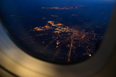 View From Airplane Window At Night Stock Image Image