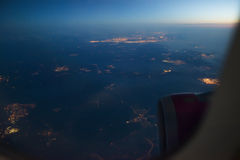 Night view Out Of Airplane Stock Photo