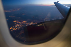 Night view Out Of Airplane Royalty Free Stock Images