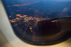 Night view Out Of Airplane stock photography