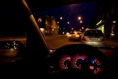 Night view out of windshield Stock Photos
