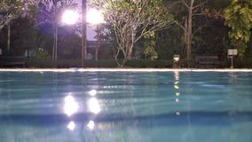 Night view of swimming pool. Night view of outdoor swimming pool stock video footage