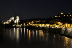 Night view over the Adige river and church San Giorgio Royalty Free Stock Images