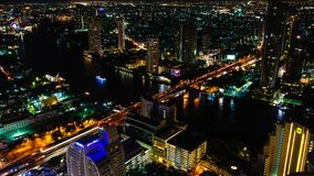 Night view over Bangkok city, Thailand Royalty Free Stock Image