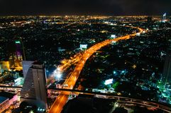 Night view over Bangkok city, Thailand Stock Images