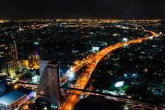 Night view over Bangkok city, Thailand Royalty Free Stock Photography