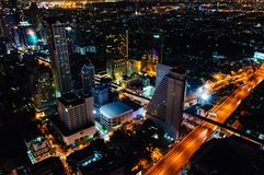 Night view over Bangkok city, Thailand Stock Photo