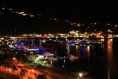 Night view over Charlotte Amalie St Thomas Stock Images