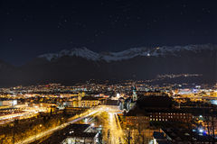 Night view over the city of innsbruck Stock Photo