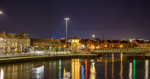 Night view over Cumberland Basin Bristol A Stock Image