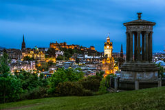 Night view over Edinburgh. With Dugald Stewart Monument, view from Carlton hill Royalty Free Stock Image