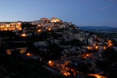 Night view over Gordes, France Stock Photo