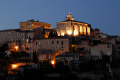Night view over Gordes, France Royalty Free Stock Photography