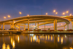 Night view over Highway intersection water front with twilight sky Royalty Free Stock Photography