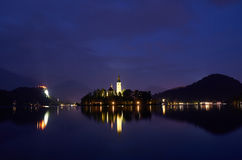 Night view over the lake Bled, Slovenia Royalty Free Stock Images