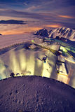 Night view over mountain landscape stock images