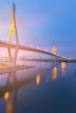 Night view over Rama9 suspension bridge cross over Bangkok river Royalty Free Stock Photo
