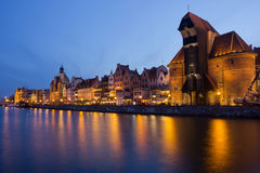 Night view over the river Motlawa the Old Town in Gdansk. Poland Stock Photography