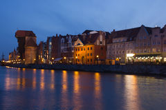 Night view over the river Motlawa the Old Town in Gdansk Royalty Free Stock Photography