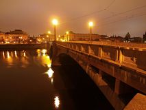 Night view over river to historical part of Prague town, center of Europe Royalty Free Stock Photos
